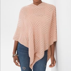 LIKE NEW Chico's Pink Salmon Textures Poncho Knit